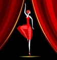 dancing ballerina in red vector image