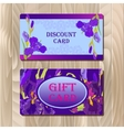 Discount card template with purple iris flower vector image