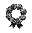 Funeral wreath icon in black style isolated on vector image