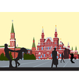 Husband and wife on the Red Square circling hand vector image