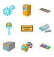 parking monitoring icons set cartoon style vector image