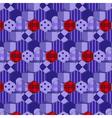 Seamless pattern patchwork purple fabrics hexagon vector image