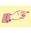 Vintage retro female hand pointing finger vector image