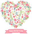 Happy mothers day floral heart vector image vector image