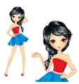 Brunette Girl In Blue Skirt vector image