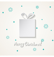 Christmas card with a snow and a gift box vector image