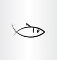 fish symbol black icon vector image