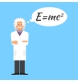 Einstein is stands keeping the formula in his head vector image