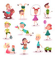 kids at playing with toys and soccer ball vector image