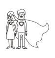 silhouette cartoon full body couple parents super vector image