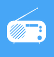 vintage radio on blue background vector image