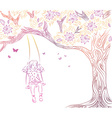 Hand Drawn Sketch of a Girl on a Swing vector image