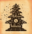 A poster on aged paper Travel to Indonesia An vector image
