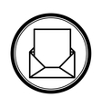 circular shape with blank paper envelopes opened vector image