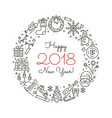 new year outline icons vector image
