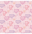 Pink tea cups seamless pattern background vector image