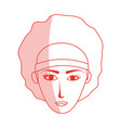 red silhouette shading cartoon front face woman vector image