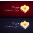 Simple Valentines Day Card with Golden and Silver vector image