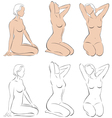 Stylized figures of nude women vector image