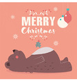 Merry Christmas lettering postcard with brown bear vector image