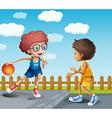 Two boys playing basketball vector image vector image