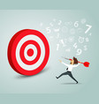 businessman trying to hit a target with a dart vector image vector image