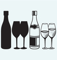 Wineglasses and bottles vector image