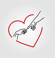 Hands showing the creation of Adam in a red heart vector image