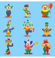 Clown cute characters cartoon vector image