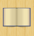 Opened book with yellow pages on wooden background vector image