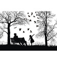 young family in autumn park vector image