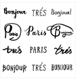 Hand drawn french phrases collection vector image