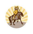 warrior with shield and sword on horse vector image vector image