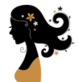Retro woman silhouette with flowers in hair vector image vector image