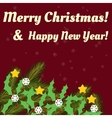 Christmas card with fir branches stars text vector image