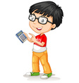 Little asian boy using calculator vector image