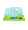 Green energy concept wind and solar power on vector image