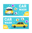 car wash service banner card set vector image
