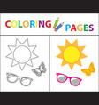 coloring book page summer set glasses sun vector image