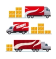 Fast delivery red trucks set with parcel boxes vector image