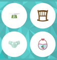 flat baby set of children scales infant cot vector image