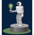 Robot on Pedestal with hologram atom structure vector image