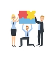 Managers Holding Connected Pieces Of Puzzle vector image