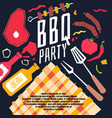 modern poster bbq party with a checkered vector image