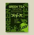 Green tea poster or banner typography design vector image