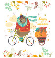 Cute bear riding a bicycle with sleeping cub vector image