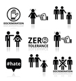 Stop discrimination of men and women icons set vector image vector image