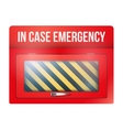 Empty red box with in case of emergency vector image