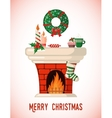 Christmas Card with fireplace vector image