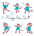 Happy new year card with monkeys - symbol of 2016 vector image